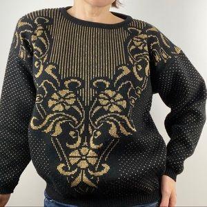 •Kate Collins• Vintage 80's Golden Floral Sweater